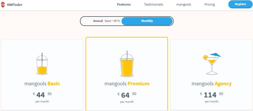 prices mangools monthly