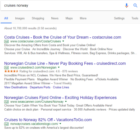 cruises norway adwords results