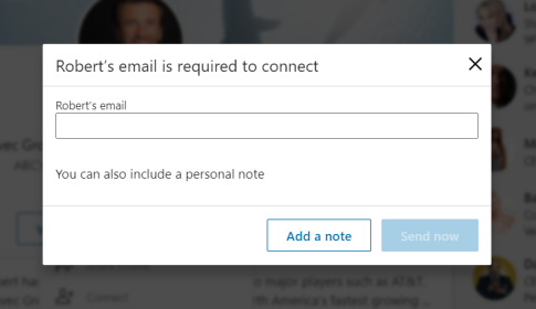 E-mail required to connect LinkedIn